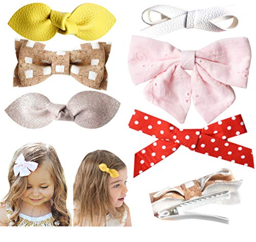 (California Tot Premium Faux Leather Bow Hair Clips for Toddler, Girls, Mixed Set of 6 (Sugar & Spice Set of 4) )