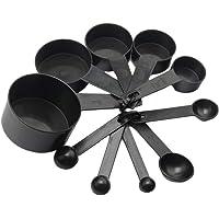 10Pcs Black Plastic Measuring Spoons Cups Set Tools for Baking Coffee Tea 1/4Sp- 1/2Sp-1Tsp-1/2Tbsp- 1Tbsp