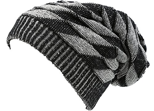 Diamond Knit Hat (Sakkas 16147 - Zaye Long Tall Slouchy Diamond Patterned Knit Faux Fur Lined Beanie Hat - Black / White - OS)