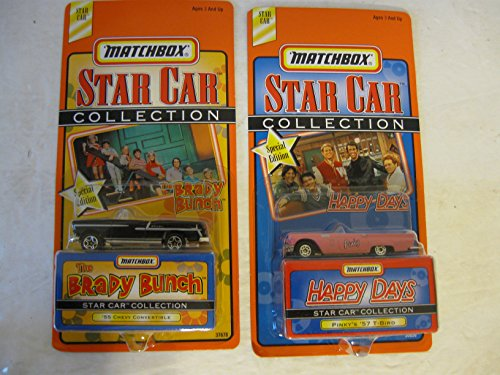 Matchbox Star Car Happy Days and Brady Bunch Collection The Brady Bunch Matchbox Star Car is a 55 Chevy Convertible and the Happy Days Matchbox Star Car is Pinky's 57 Pink T-Bird This Matchbox Star Car Collection for the Brady Bunch and Happy Days were special editions in 1998. T-bird Convertible