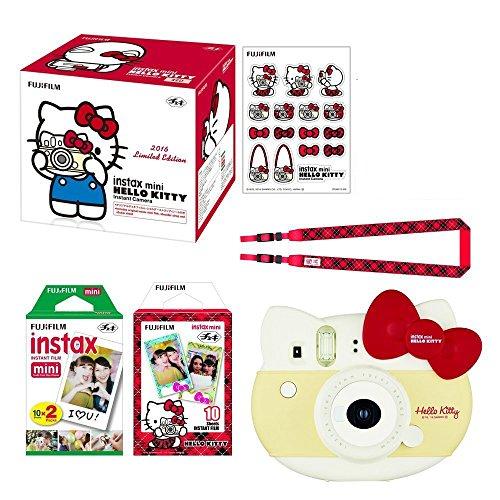 Fujifilm Instax Mini ''Hello Kitty Red'' Instant Camera Set! with Instax Mini Film, Twin Pack (20 Shoots) + Hello Kitty Film (10 Shoots) + Shoulder Strap + Stickers by Fujifilm