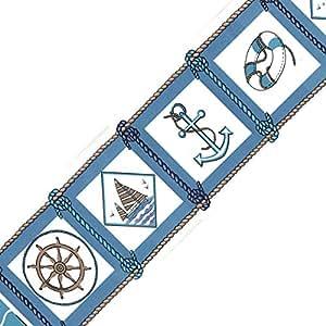Blue Nautical Wall Border - Ocean Room Decor - Wallpaper Border