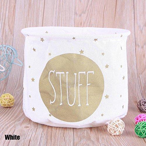 UNKE Creative Household Desktop Cotton Linen Sundry Cloth Cosmetic Storage Basket Box Case Organizer,White