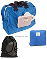 Foldable and Reusable Large Carry Tote Bag with Zipper Closure, Small Front Pocket Plus Bonus Drawstring Bag