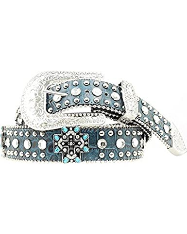 ccb4a002d12b Blazin Roxx Women's Colored Cross Conchos Belt, Turquoise, M at ...