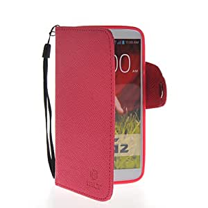 GETLAST(TM) For LG G2 Beautiful Texture Skin Soft PU Leather Wallet Magnetic Buckle Flip Case Cover Hot Pink With Screen Protector
