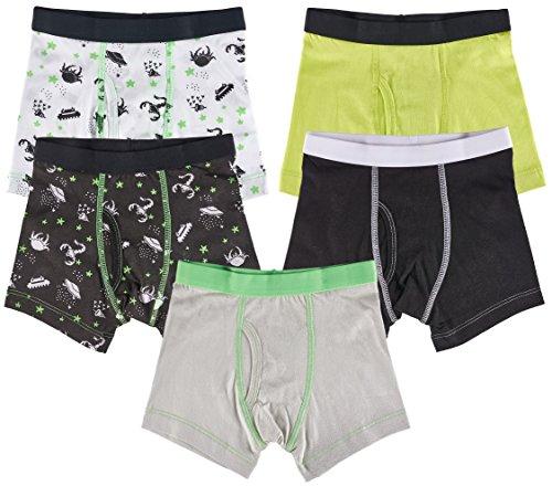 Trimfit Boys 100% Cotton Tagless Neon Aliens Boxer Briefs 5-Pack, XL (10-12)