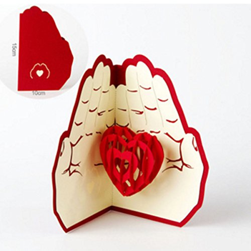 "CiCy Heart Handmade 3D Pop Up ""Love In Hands"" Greeting Cards Postcard Happy Birthday Good Luck Wedding Anniversary Friendship Merry Christmas Thanksgiving Father"
