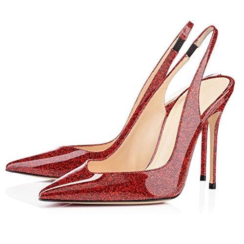 EDEFS - Escarpins Femme - Sexy Talon Aiguille - Bride Arrière Chaussures - Bout Fermé Glitter Red AviteAzGEF