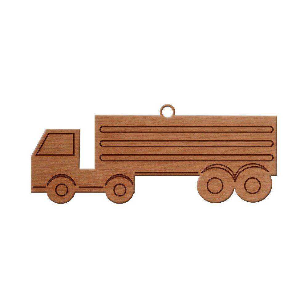 Big Truck Design Wooden Christmas Tree Ornament, Hanging Xmas Decor