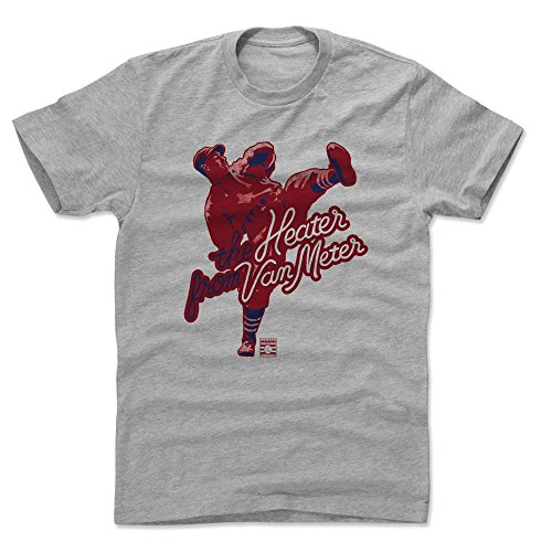 Cleveland Series Indians Fan - 500 LEVEL Bob Feller Cotton Shirt (XX-Large, Heather Gray) - Cleveland Indians Men's Apparel - Bob Feller Heater R