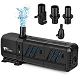 amzdeal Water Pump Aquarium 400GPH (1500L/H, 15W) Submersible Water Pump with Two Filters Ultra Quiet Water Pump for Aquarium, Fish Tank (200L,55gallon), Pond, Fountain, Hydroponics