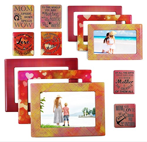 Mom - Magnetic Picture Frames and Refrigerator Magnets with Inspirational Quotes (12 Piece) Photo Collage - Mom Gift - Gift for Mother - Birthday Gift for Mom - Baby Shower ()