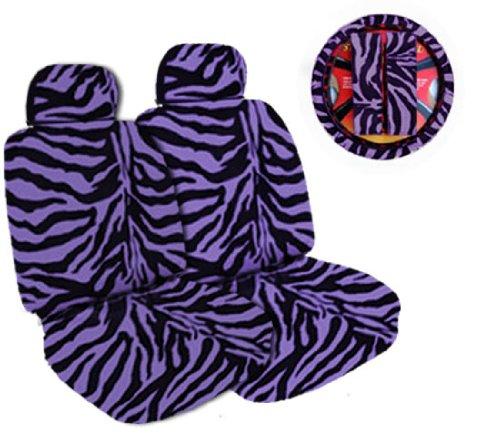 (7-Piece Safari Animal Print Auto Interior Gift Set - 2 Purple Zebra Front Bucket Seat Covers, 2 Purple Zebra Headrest Covers, 1 Purple Zebra Steering Wheel Cover, and 2 Purple Zebra Shoulder Harness Pressure Relief Covers)