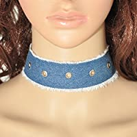 Vintage Gothic Denim Choker Collar Necklace Punk Chunky Statement Women Jewelry EW (5#)