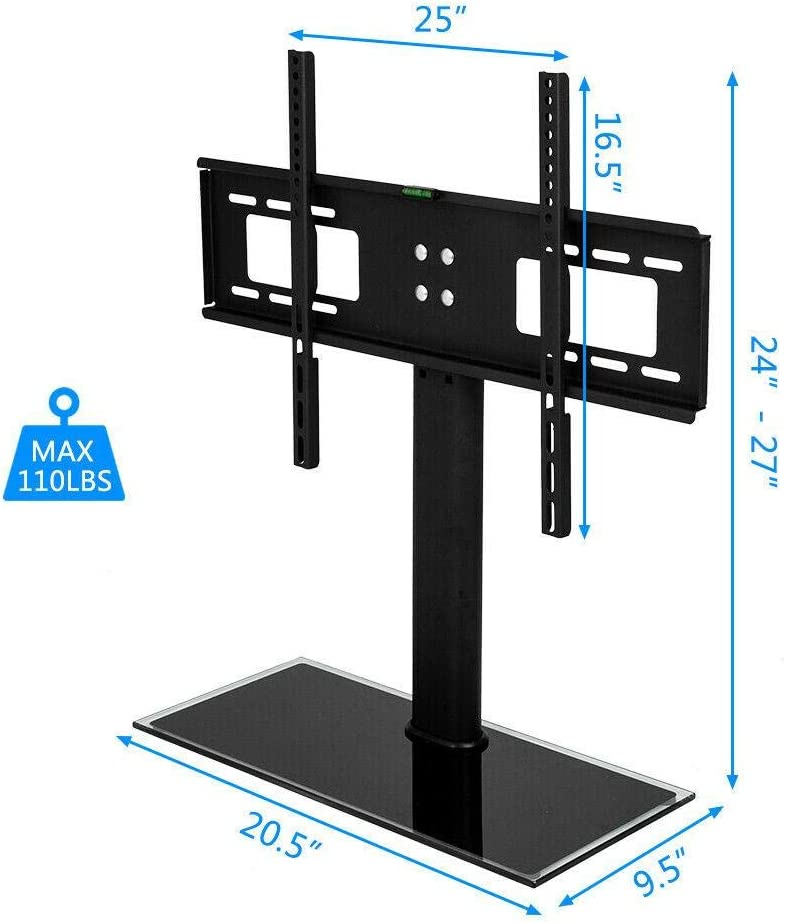 LEXING-TV Stand Base with Universal Mount and Height Adjustable for 37-55 TVs