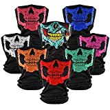 Motorcycle Face Masks 8 Pieces Skull Half Face Mask Ghosts Tube Masks for Halloween Party Outdoor Hiking Skiing Camping