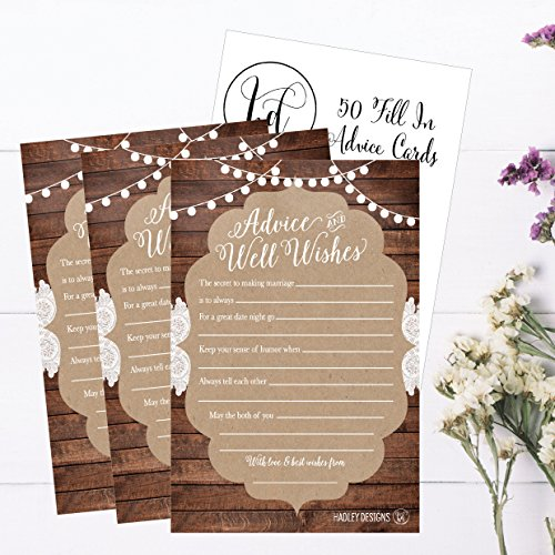 50 4x6 Rustic Wedding Advice & Well Wishes For The Bride and Groom Cards, Reception Wishing Guest Book Alternative, Bridal Shower Games Note Card Marriage Advice Bride To Be, Best Wishes For Mr & Mrs Photo #4