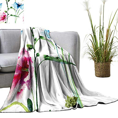 - YOYI Blanket as Bedspread Seamless Wallpaper with Spring Flowers,Watercolor Painting Cozy and Durable Fabric-Machine 60