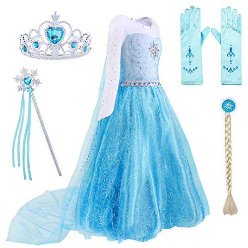 AmzBarley Snow Queen Elsa Costume for Girls Fancy Party Princess Cosplay Role Play Dress Up Outfits with Accessories (Blue 001, 4T -