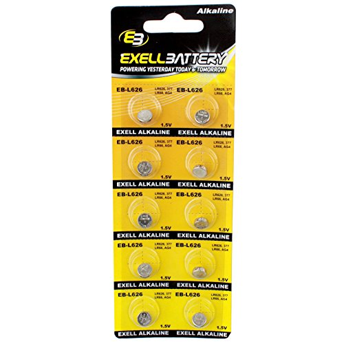 10pk Exell EB-L626 Alkaline 1.5V Watch Battery Replaces AG4
