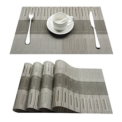 Top Finel Eco-friendly Colorful Rectangle Bamboo Plastic Place Mats for Dining Table 12″ By 18″ (Set of 4, Grey and Silver)