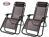 Merax Lounge Chair Zero Gravity Deck Chair Folding Reclining Patio Chair Set of 2(Brown)
