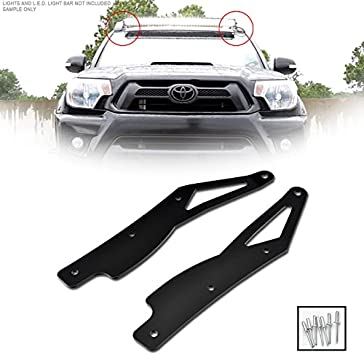 VXMOTOR for 2007-2014 Toyota Tundra Black Roof Pillar Lamp Mount Brackets Kit For 50 Curved LED Light Bar FRC