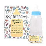 Baby Shower Candy Guessing Game with 30 Cards and 11' Large Baby Bottle Bank in Blue - Baby Shower Prizes for Game Winners