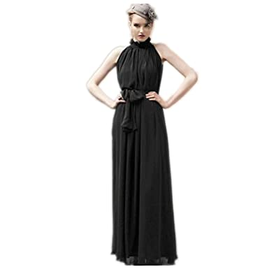 IBTOM CASTLE Womens Formal Chiffon Prom Dress Solid Color Bandage Maxi Dress Bridesmaid Gown Black
