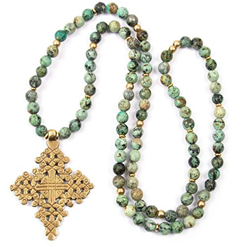 Brass Turquoise Pendant - Brass Ethiopian Coptic Cross Pendant on African Turquoise Necklace - 33 Inches Long Handmade Necklace by Miller Mae Designs
