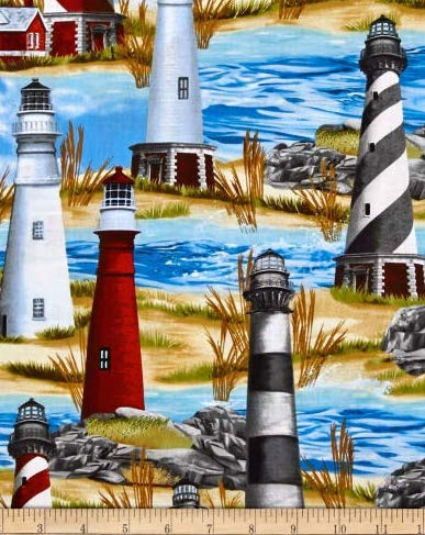 1 Yard - Lighthouse Nautical Scenic Cotton Fabric (Great for Quilting, Sewing, Craft Projects, Throw Pillows & More) 1 Yard X 44