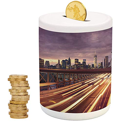 iPrint City,Piggy Bank,for Party Decor Girls Kid's Children Adults Birthday Gifts,Brooklyn Bridge at Night Car Traffic in New York United States Transport