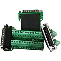 Twinkle Bay DB25 Connector to Wiring Terminal Db25 Breakout Board Solder-free 3 PCS (Male Adapter with Nut)