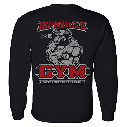 Ironville Gym Bull - Where Weakness Gets The Horns Long Sleeve Powerlifting Tee (2XL, black)