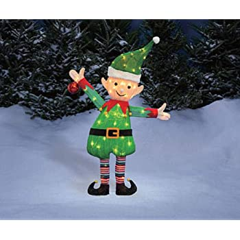38 santas elf tinsel sculpture outdoor christmas yard lawn decoration seasonal display - Elf Outdoor Christmas Decorations