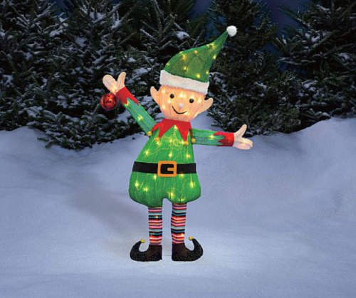 "38"" Santa's Elf Tinsel Sculpture Outdoor Christmas Yard Lawn"