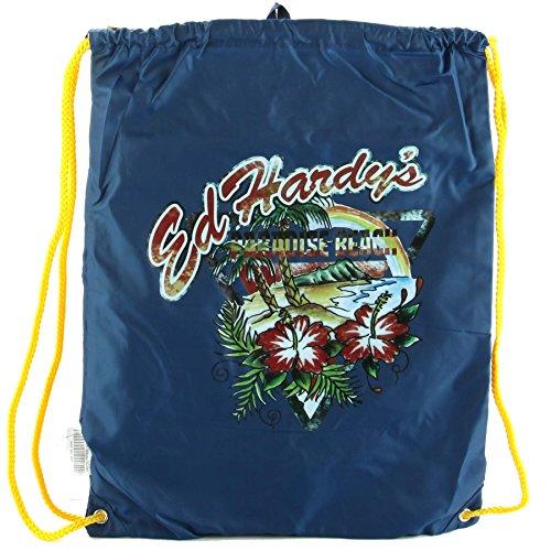 Ed Hardy Bags Purses - Ed Hardy Drew Drawstring Paradise Beach -Navy