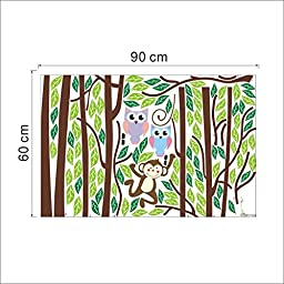 Ryuan Owl and Monkey on Tree Branch Wall Decal Sticker Large size Home Decor Nursery Wall Decorative(86.6\