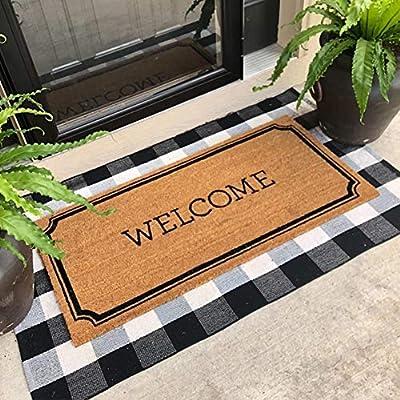 "KaHouen Buffalo Check Rug, Buffalo Plaid Rug (23.6""x51.2""), Checkered Plaid Rugs, Checkered Outdoor Rug for Kitchen/Living Room/Bedroom/Dinning Room/Dorm(Black and White Porch Rugs)"