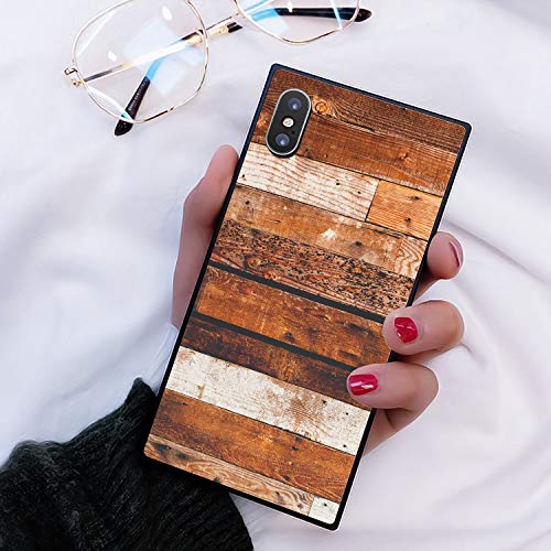 YaoLang iPhone Xs Max Square Edges Case, Wood Wooden Texture Soft TPU Slim Square Case for iPhone Xs Max