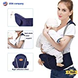 Baby Hip Seat Carrier Waist Stool for Infant Toddler with Adjustable Back Strain Relief Strap- Safety Certified Soft Baby Front Carrier (Dark Blue) Review