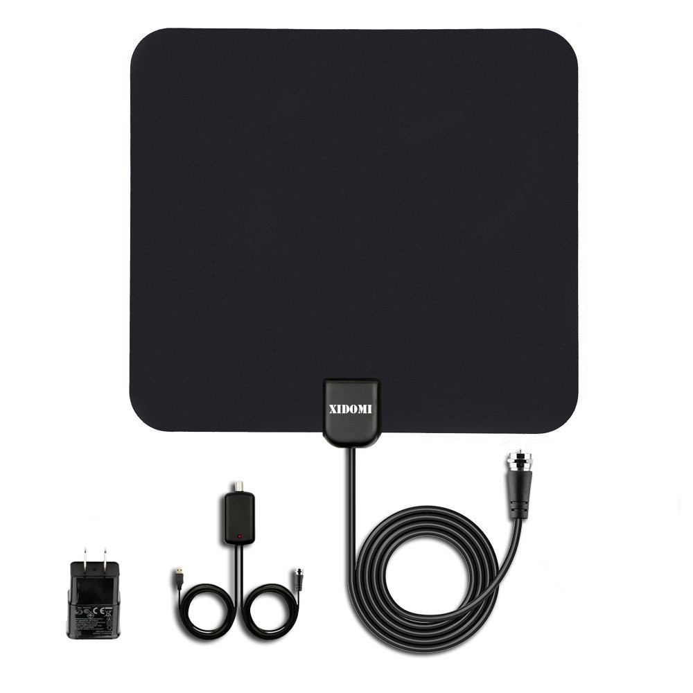 HDTV Antenna 50 Mile Range Digital TV Antenna Amplified with Detachable Amplifier Power Supply for the Highest Performance Coax Cable by Xidomi