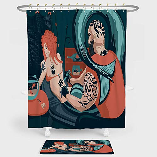 iPrint Mermaid Decor Shower Curtain And Floor Mat Combination Set Tattoo Master Sailor Draws on the Body of a Mermaid Workshop Tattooist For decoration and daily use