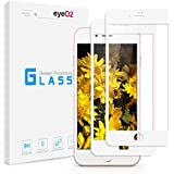 """EyeO2 for iPhone 7 iPhone 8 4.7"""" Screen Protector White HD Full Cover Tempered Glass Guard High Response Protective Film Case Friendly iPhone Accessories 2 Pack"""