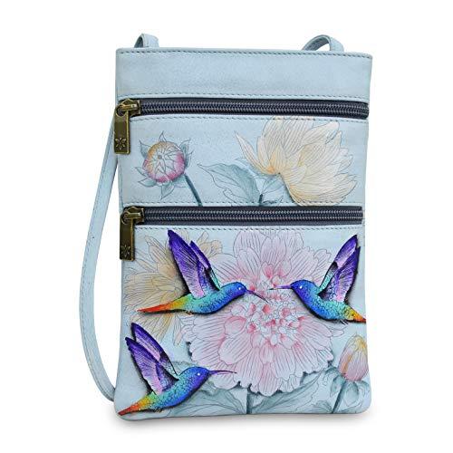 Anuschka Women's Genuine Leather Hand Painted Double Zip Travel Crossbody Bag | Rainbow Birds