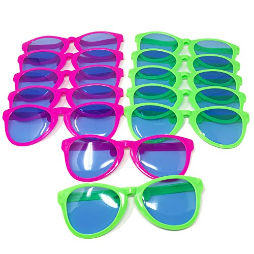 BOLEY Jumbo Sunglasses - 12pk Giant Novelty Party Sunglasses for Costumes Cosplay Halloween, Birthday Party Favors, Wedding Photo Booth Props and more! (Using Old Dance Costumes For Halloween)