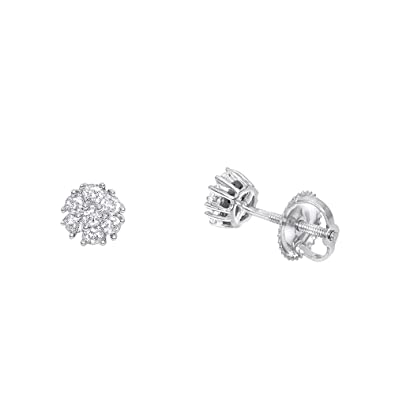 b92224fb013388 Amazon.com: Ladies 14K Gold Cluster Flower Diamond Stud Earrings 0.25ctw  (White Gold): Jewelry