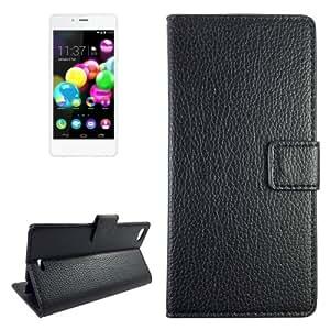 Texture lichis Funda con tapa Holder Case Cover & Card Wallet Slots & para Wiko Highway Pure (Black)