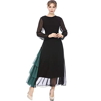 8701dd85a834 The Long Shop Women Turkish Muslim Evening Dress Long Sleeves Fully Lined  Crew Neck Muslim Long